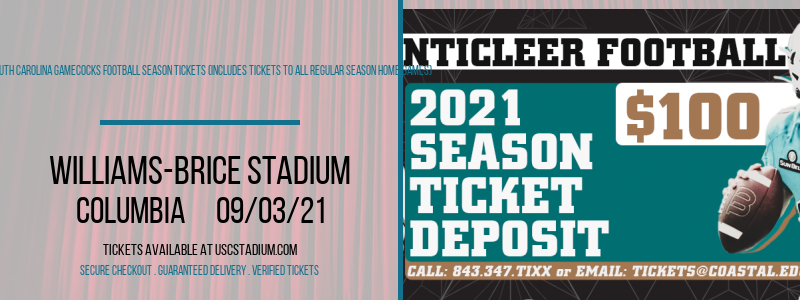 2021 South Carolina Gamecocks Football Season Tickets (Includes Tickets To All Regular Season Home Games) at Williams-Brice Stadium